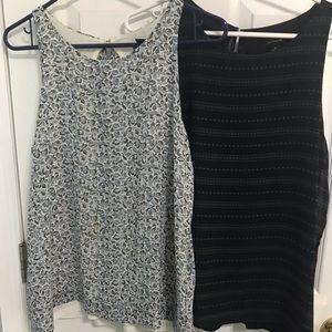Ann Taylor high neck blouses, flowy open back, M